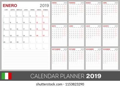 Italian calendar planner 2019, week starts on Monday, set of 12 months January - December, calendar template size A4, simple design on white background, set desk calendar template, vector illustration