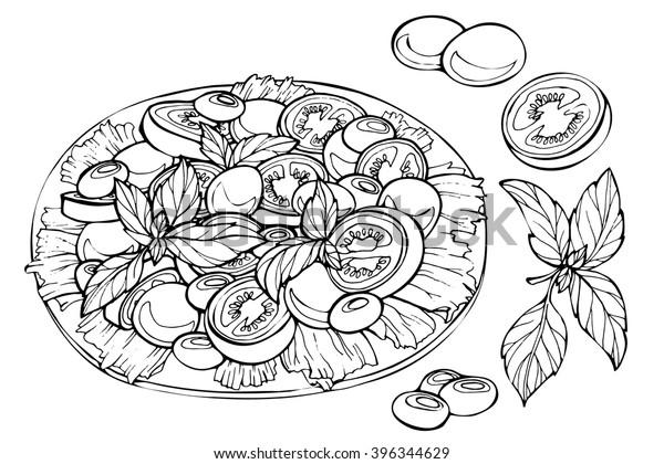 Image Vectorielle De Stock De Salade Italienne Caprese Avec