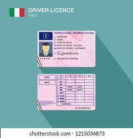 Italian car driver license identification. Flat vector illustration. Italy.