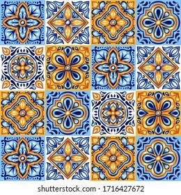 Italian ceramic tile pattern. Mediterranean porcelain pottery. Ethnic folk ornament. Mexican talavera, portuguese azulejo or spanish majolica.