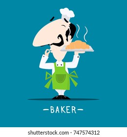 Italian chef baker with a freshly baked croissant on his tray cartoon style vector illustration