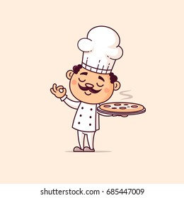 Italian chef holding hot pizza vector cartoon illustration