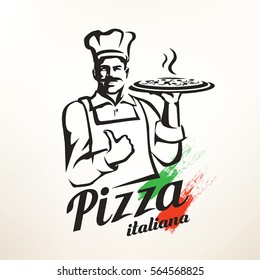 Italian chef holding pizza, stylized vector silhouette.