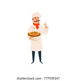 Italian chef holding wooden board with traditional pizza. Cartoon man character in kitchen uniform, hat, red scarf. Professional restaurant cook. Flat vector design