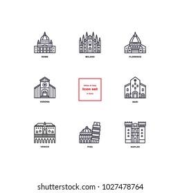 Italian cities icons. Set Vector