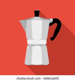 Italian coffee maker, espresso machine, moka express, mocha coffee, moka pot. Flat design vector illustration.