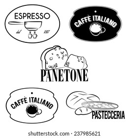 Italian coffee and pastry. Vector labels set.