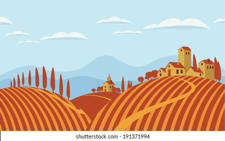 Italian countryside landscape with vineyards