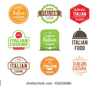 Italian cuisine, authentic traditional italian food typographic design set. Vector logo, label, tag or badge for restaurant and menu. Italian cuisine isolated.