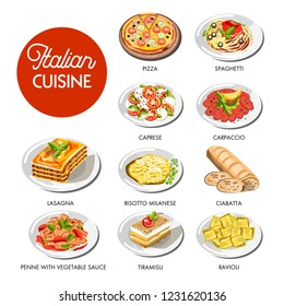 Italian cuisine food traditional dishes of pasta spaghetti, pizza or lasagna meat, caprese cheese and vegetable salad, ciabatta bread or risotto rice and tiramisu dessert cake. Vector isolated icons