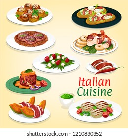 Italian cuisine gourmet food of grilled meat, tomato cheese salad and beef tartare. Focaccia bread with veggies and ham, prosciutto and meatball, pork sausage and shrimp salad, restaurant menu