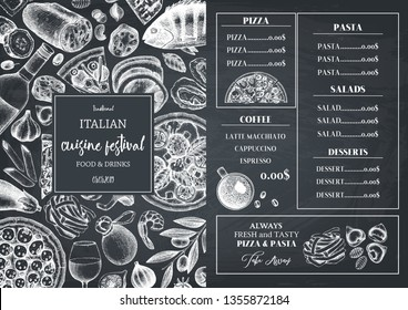 Italian cuisine menu design. Hand drawn pizza and pasta illustrations. Fast food sketches in engraved style.  Vector template for cafe or bakery design. Vintage template on chalkboard