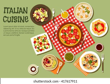 Italian cuisine pizza, ravioli and mushroom risotto, octopus salad and seafood pasta topped with shrimps, mussels, squid and clams, salad with mozzarella and croutons, green olives and panna cotta
