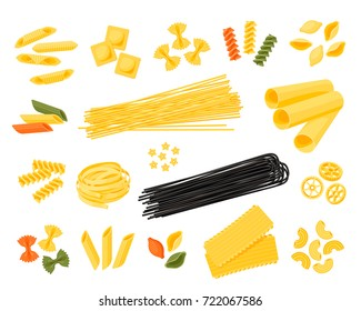 Italian cuisine. Set of assorted types of pasta: spaghetti, cannelloni, farfalle, tagliatelle and other, different colors. Vector illustration cartoon flat icon collection isolated on white.
