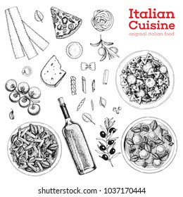 Italian cuisine sketch. A set of Italian dishes with pasta and meatballs, pizza, ravioli and ingredients. Food menu design template. Vintage hand drawn sketch vector illustration. Engraved image