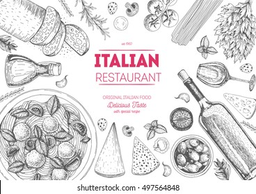 Italian cuisine top view frame. A set of classic Italian dishes. Food menu design template. Vintage hand drawn sketch vector illustration. Engraved image.. White background.
