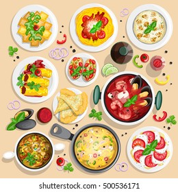 Italian cuisine top view frame. Italian food menu design. Colorful hand drawn collection of top view illustrations.