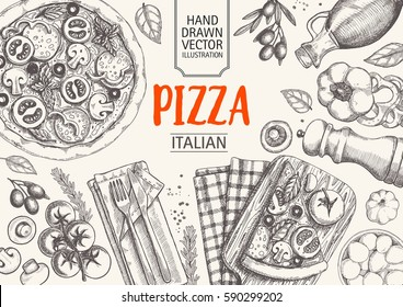 Italian cuisine top view frame. Italian food menu design. Vintage hand drawn sketch vector illustration