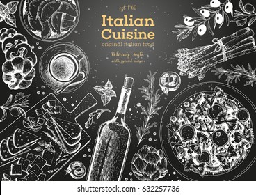 Italian cuisine top view frame. A set of Italian dishes with pasta farfalle, pizza, ravioli, cheese. Food and drink menu design template. Vintage hand drawn sketch vector illustration. Engraved image