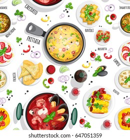 Italian cuisine top view frame. Italian food menu design. Colorful hand drawn seamless pattern with top view illustrations.