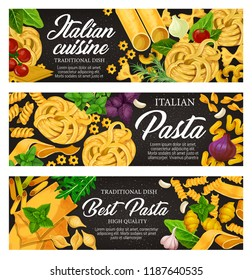 Italian cuisine traditional pasta food. Spaghetti, penne and farfalle, fusilli, lasagna and fettuccine nest, cannelloni, conchiglie and noodle with tomato, basil and garlic