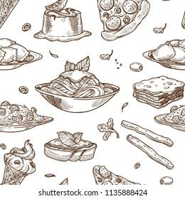 Italian cuisine vector sketch seamless pattern