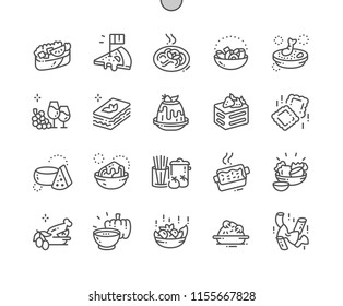 Italian cuisine Well-crafted Pixel Perfect Vector Thin Line Icons 30 2x Grid for Web Graphics and Apps. Simple Minimal Pictogram