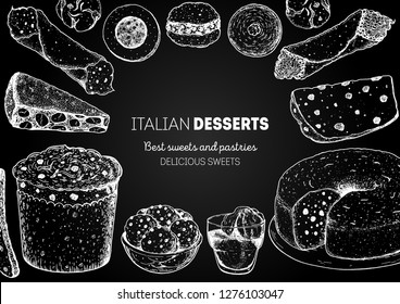Italian dessert vector illustration. Italian food hand drawn sketch. Baking collection. Vintage design template. Cannoli, panforte, panettone, struffoli, ciambellone, amaretti, bombolone, affogato.