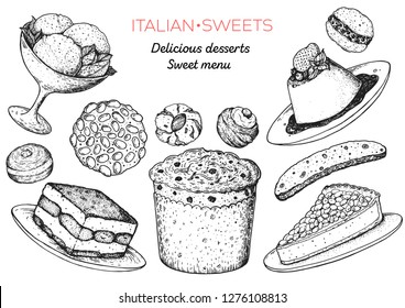 Italian dessert vector illustration. Italian food hand drawn sketch. Baking collection Vintage design template. Gelato, tiramisu, pignoli, panettone, torta della nonna, amaretti, biscotti, panna cotta