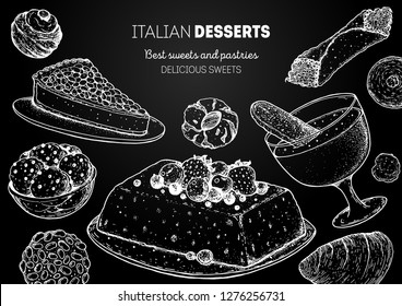 Italian dessert vector illustration. Italian food hand drawn sketch. Baking collection Vintage design template. Torta della gonna, struffoli, pignoli, semifreddo, zabaglione, cannoli, amaretti sketch