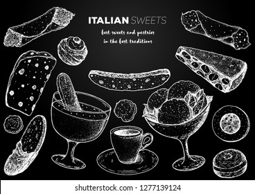 Italian dessert vector illustration. Italian food hand drawn sketch. Baking collection. Vintage design template. Cannoli, zabaglione, biscotti, gelato, panforte, bombolone, zeppole, panettone sketch.