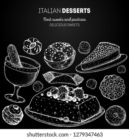 Italian dessert vector illustration. Italian food hand drawn sketch. Baking collection. Vintage design template. Zabaglione, semifreddo, cannoli, pignoli, torta della nonna, struffoli, amaretti sketch