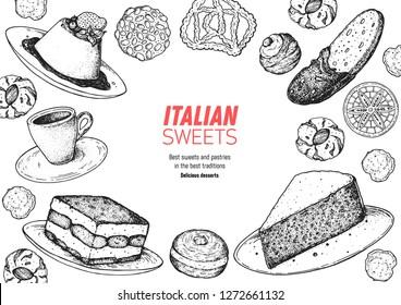 Italian dessert vector illustration. Italian sweet hand drawn sketch. Baking collection. Vintage design template. Panna cotta, tiramisu, bombolone, torta caprese, biscotti, pizzelle illustration.