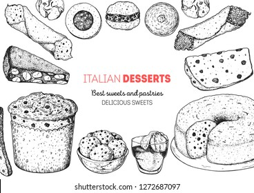 Italian dessert vector illustration. Italian sweet hand drawn sketch. Baking collection. Vintage design template. Cannoli, panforte, panettone, struffoli, ciambellone, amaretti, bombolone, affogato.