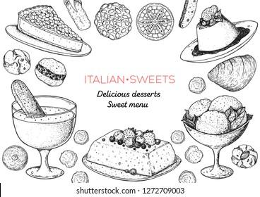 Italian dessert vector illustration. Italian sweet hand drawn sketch. Baking collection. Vintage design template. Torta della nonna, zabaglione, semifreddo, gelato, panna cotta, pizzelle illustration.
