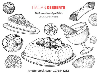 Italian dessert vector illustration. Italian sweet hand drawn sketch. Baking collection Vintage design template. Torta della gonna, struffoli, pignoli, semifreddo, zabaglione, cannoli, amaretti sketch