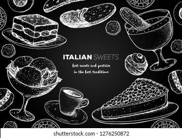 Italian dessert vector illustration. Italian sweet hand drawn sketch. Baking collection Vintage design template. Tiramisu, gelato, torta della nonna, zabaglione, biscotti, zeppole, sfinci illustration