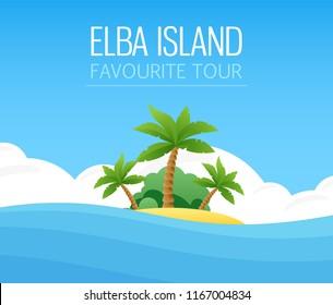 Italian Elba Island, Exotic scenic tropical landscape, Seascape with island shore vector illustration