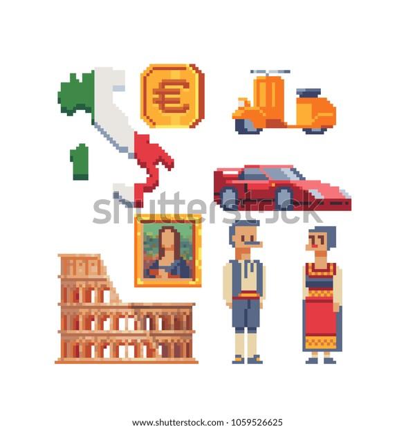 Italian Elements Pixel Art Set Part Stock Vector (Royalty