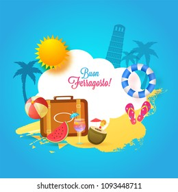 Italian festival Buon (happy in italian language) Ferragosto text with travelling bag, flipflops, softdrinks, sun and palm trees, and pisa leaning tower background. Summer Holidays in Italy Concept.