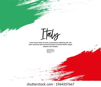 Italian flag with brush stroke effect and text