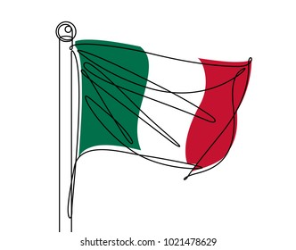 Italian Flag Continuous Line Vector
