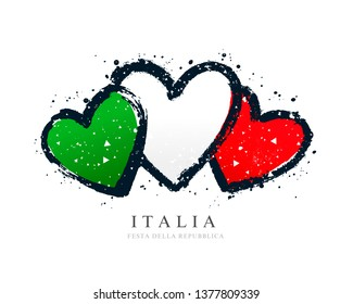 Italian flag in the form of three hearts. Vector illustration on white background. Brush strokes drawn by hand. Independence Day.