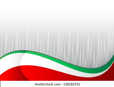 italian flag with gray point on white background