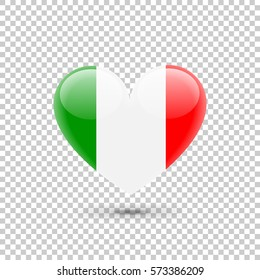 Italian Flag Heart Icon on Transparent Background. Vector illustration