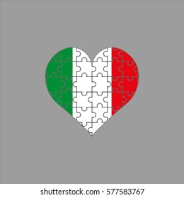 Italian Flag in a heart of the puzzle on a gray background. Vector illustration