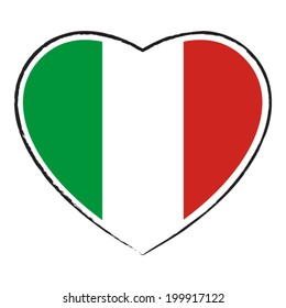 Italian flag in heart shape. Vector illustration.