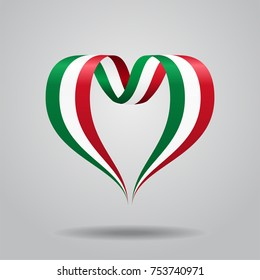 Italian flag heart-shaped wavy ribbon. Vector illustration.