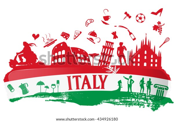 italian flag ink background with silhouette symbol set