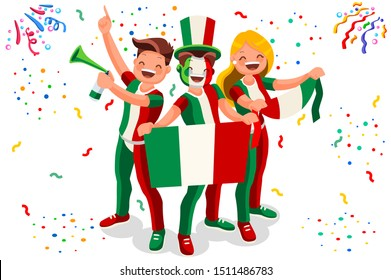 Italian Flag Italy Icon, Simple Signs. Symbol Italy Flag. Summer Games Flat Vector Illustration Banner.
